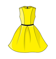 beautiful short yellow dress template with vector image