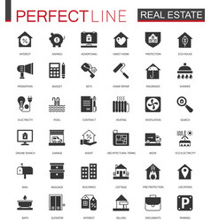 black classic real estate icons set for web vector image