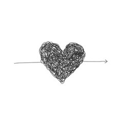 black complicated lined heart arrow vector image