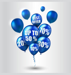 blue balloons and discounts on white background vector image