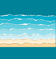 blue sea and beach summer background torn paper vector image