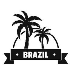 Brazil palm logo simple black style vector