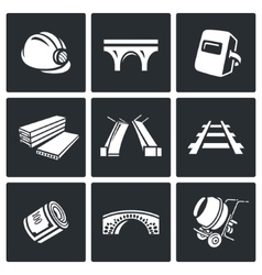 Bridge construction icons set vector image