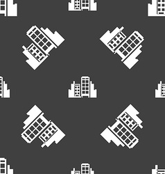 Buildings icon sign Seamless pattern on a gray vector image