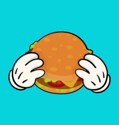 Burger with holding hands vector
