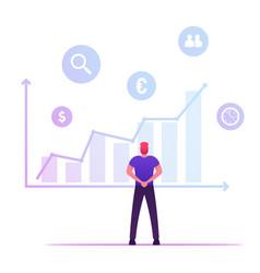 businessman analysing growing big data chart vector image