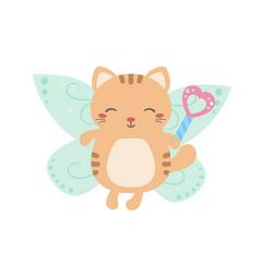 cartoon fairy cat cartoon fairy cat vector image