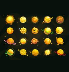 cartoon yellow and orange planets set funny vector image