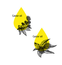 castor oil icon set hand drawn sketch extract of vector image