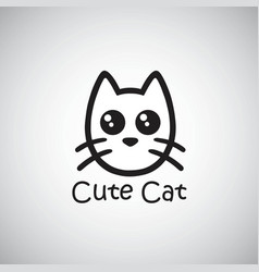 cat cute logo black isolated vector image