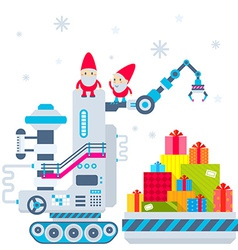 Christmas of the gnome operates the machine vector