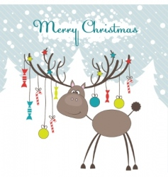 Christmas reindeer illustration vector image