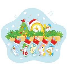 Christmas socks with gifts vector