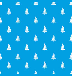 christmas tree pattern seamless blue vector image