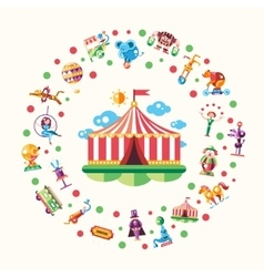 Circus carnival icons and infographic elements vector image