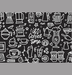 coffee time doodles hand drawn chalkboard with vector image