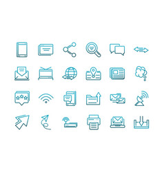 communications talk information broadcast icons vector image