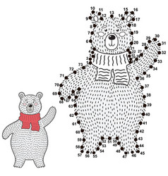 connect dots and draw a cute polar bear vector image