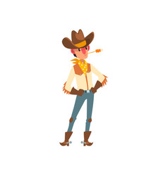cowboy in traditional clothes western cartoon vector image