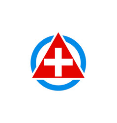 Cross hospital medic triangle logo vector