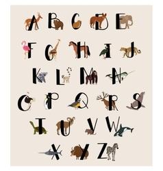 Cute animal alphabet set for kids vector