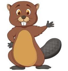 Cute beaver cartoon waving vector image