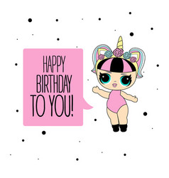 cute lol doll with black and pink hair and vector image
