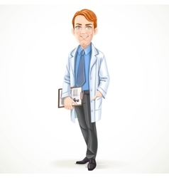Cute male doctor in a shirt and tie and medical vector