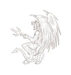 Demon holding pitchfork drawing vector