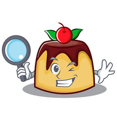 Detective pudding character cartoon style vector