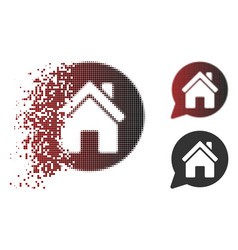 Dissipated dot halftone house mention icon vector