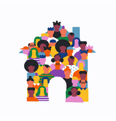 Diverse people cartoon house shape team isolated vector