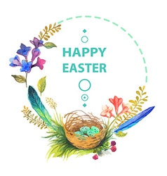 Easter card with wreath of watercolor flowers vector