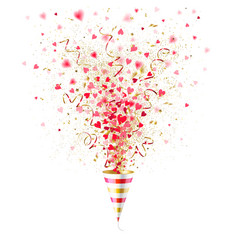 Explosion party popper with red hearts vector