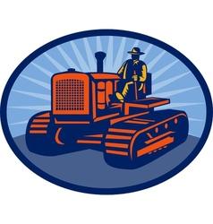 Farmer driving vintage tractor vector