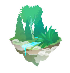 fragment forest with a stream isolated on a vector image