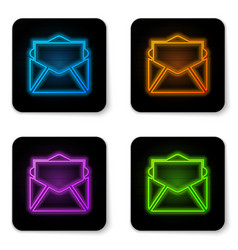 glowing neon mail and e-mail icon isolated on vector image