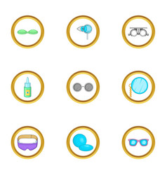 goggles equipment icons set cartoon style vector image