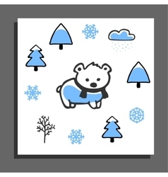 Greeting card with bear in scarf and winter vector image