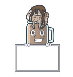 Grinning with board milkshake character cartoon vector