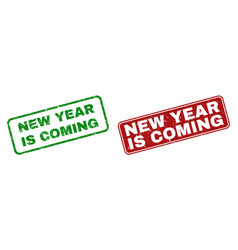 grunge new year is coming rubber prints with vector image