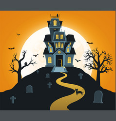 Halloween background with castle and full moon vector