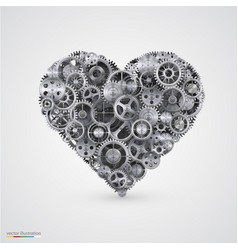 Heart made of cogwheel vector