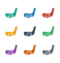 Hockey stick and puck icon white background vector