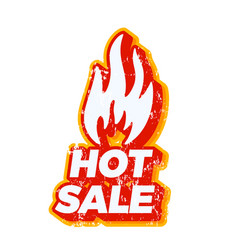 Hot summer sale fire icon with typography text vector