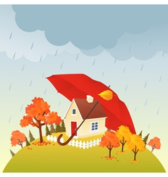 House under umbrella vector