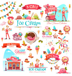 Ice cream set with banner icons and vector