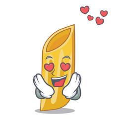 In love penne pasta character cartoon vector