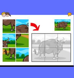 jigsaw puzzles with bull farm animal vector image