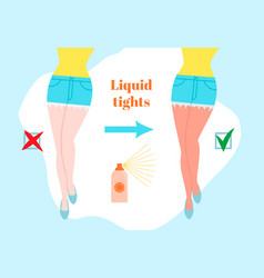 liquid tights cartoon style concept before and vector image